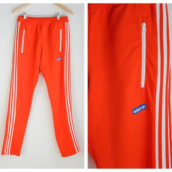 Bright Orange Slim Fit Textured 3 Stripe Joggers